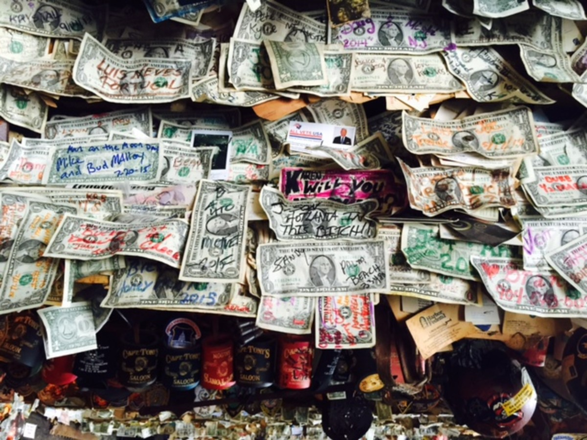 Capt. Tony's is a famous bar, and one of the things they allow is for the tourists to write their name, onto a dollar bill and staple it to the ceiling. This bar was the original Sloppy Joe's where Hemingway did most of his drinking.