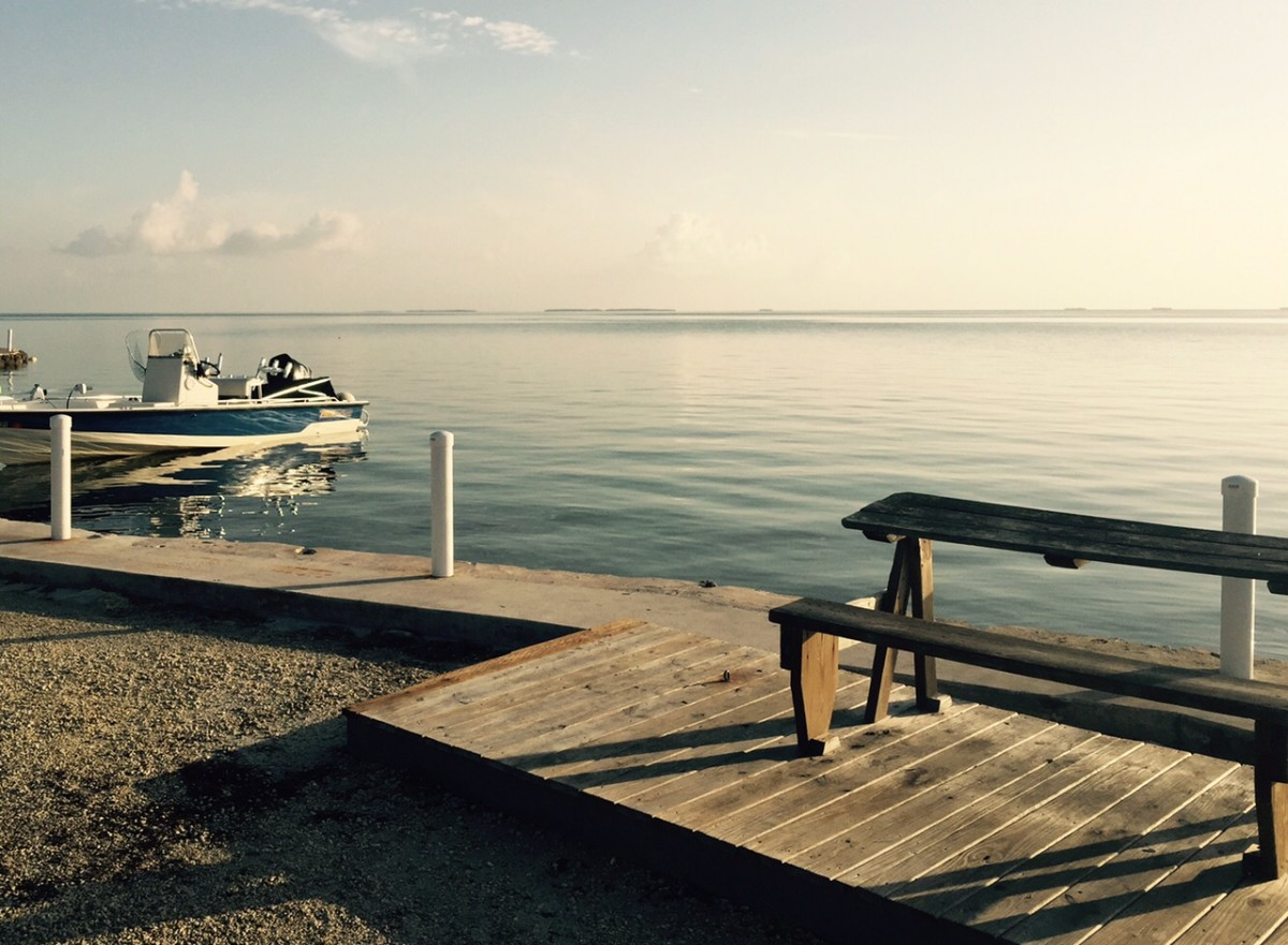 An early morning view of the Gulf from the Fiesta Key Campground.