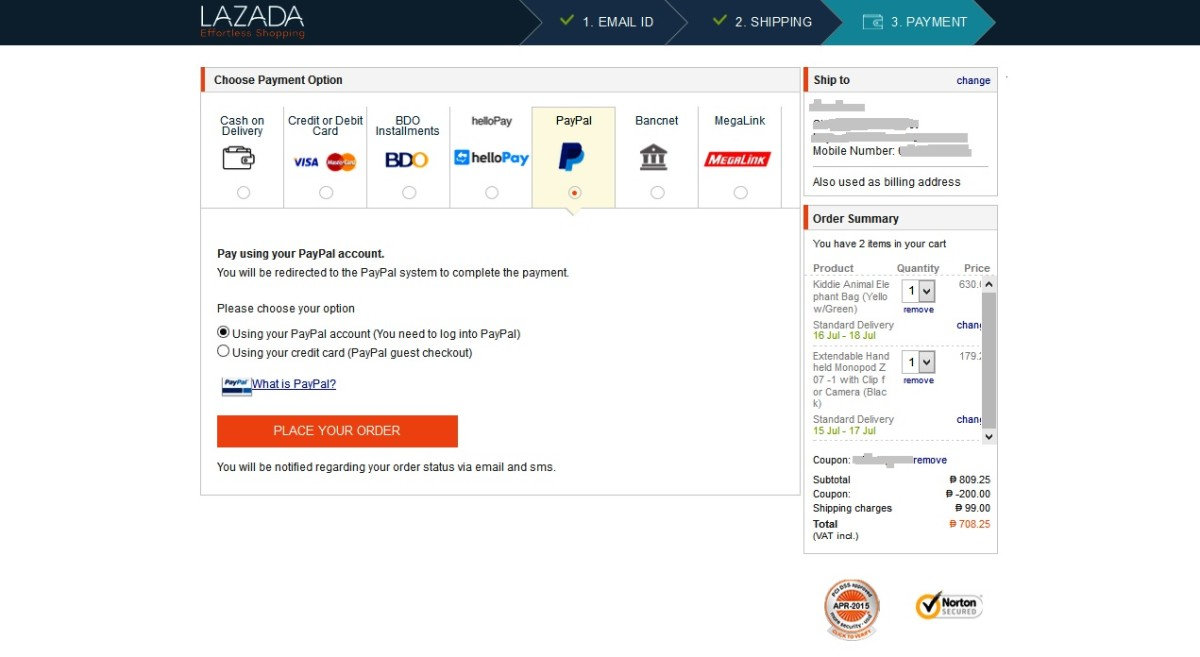 Using a voucher in Lazada