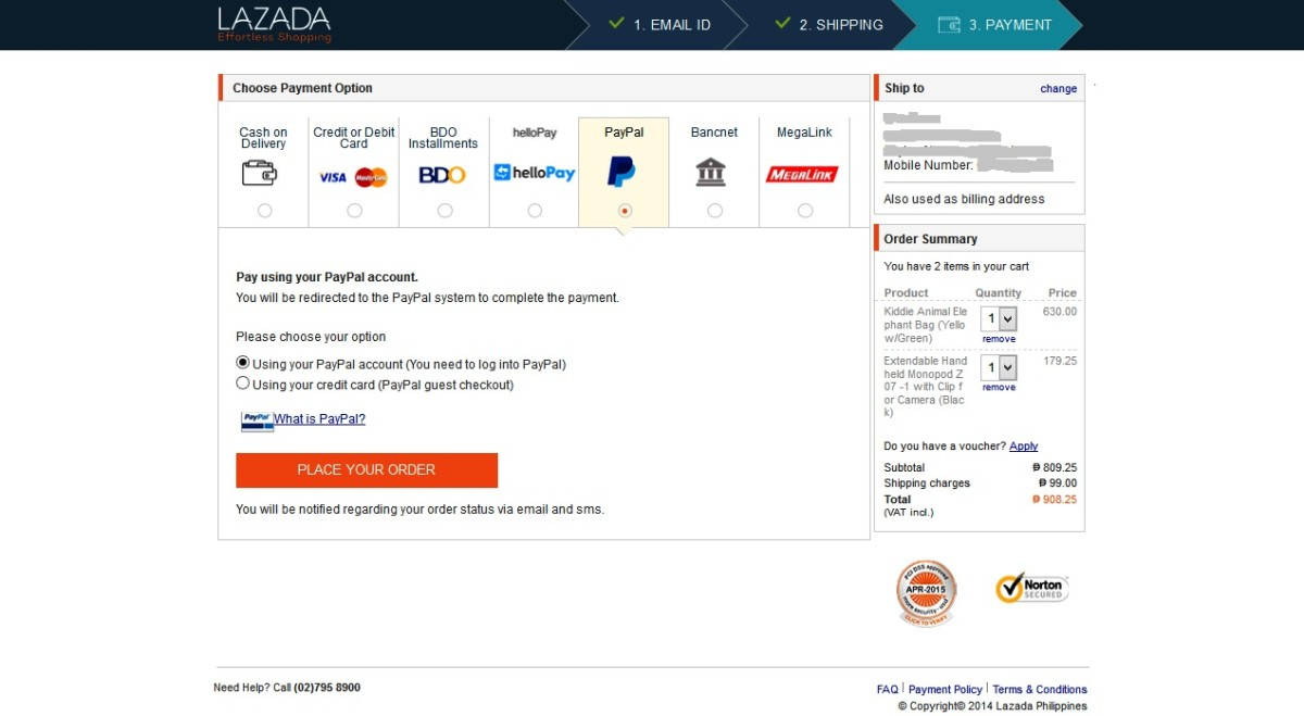 Lazada payment options.