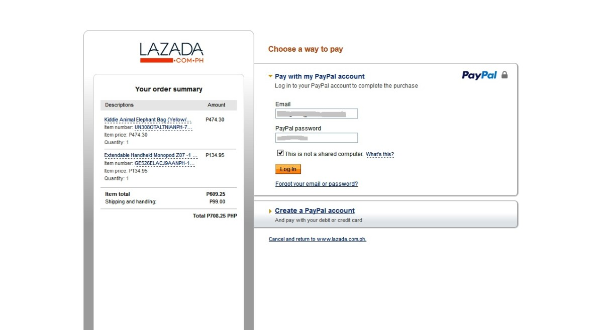The PayPal Payment page.
