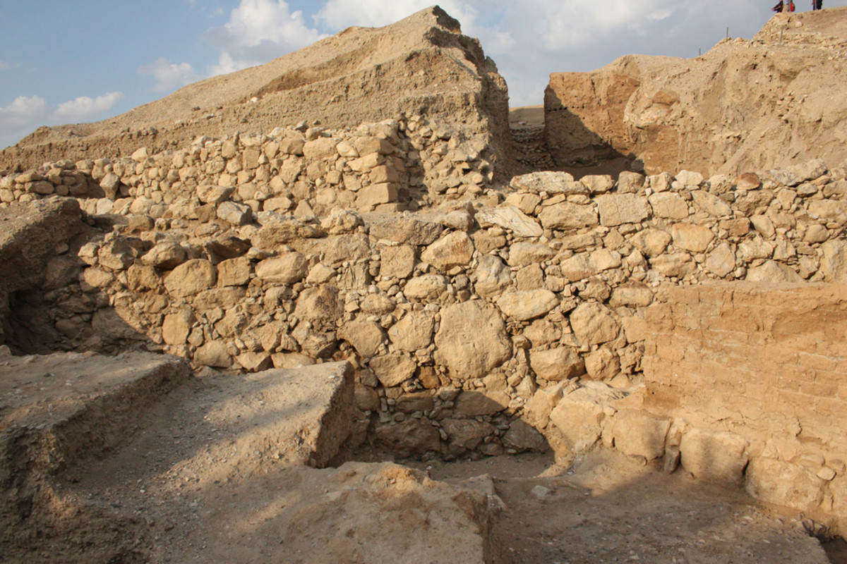 Remains of the walls of ancient Jericho, the longest settled city in the world............
