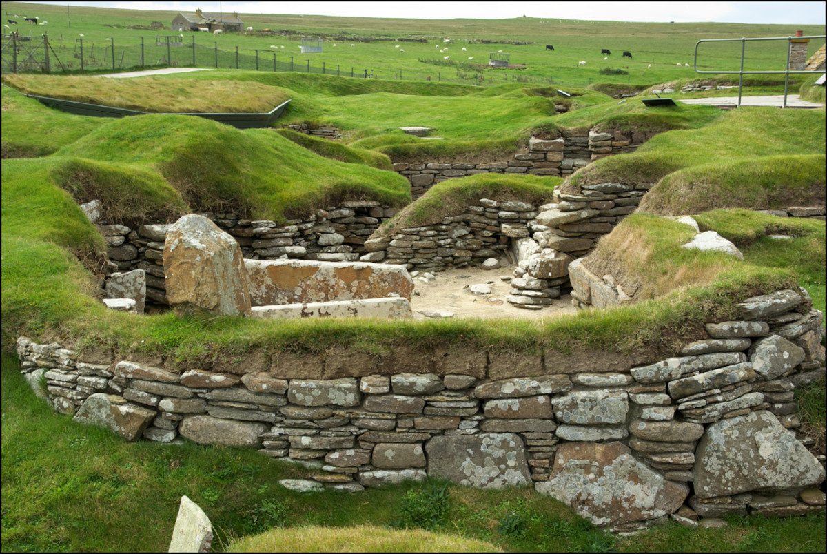 Skara Brae, northern Europe's best preserved prehistoric village. It is situated in the Orkney Islands, off the north coast of Scotland.