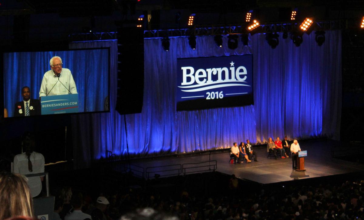 Bernie Sanders speaking at the Los Angeles Rally.