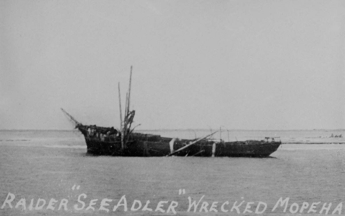 WW1: Wreck of SMS Seeadler (Sea Eagle) on the reef at the atoll Mopelia.