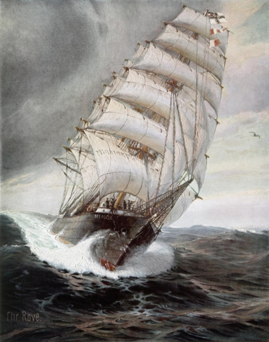 WW1: Painting by Christopher Rave of SMS Seeadler (Sea Eagle) in full sail on the high seas
