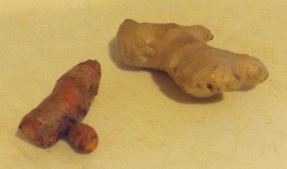 Tumeric (left), Ginger (right)