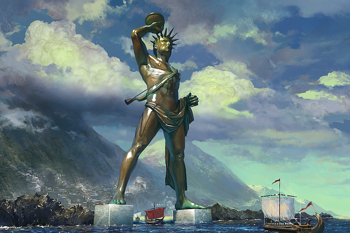 Some accounts say that the statue stood on a breakwater...