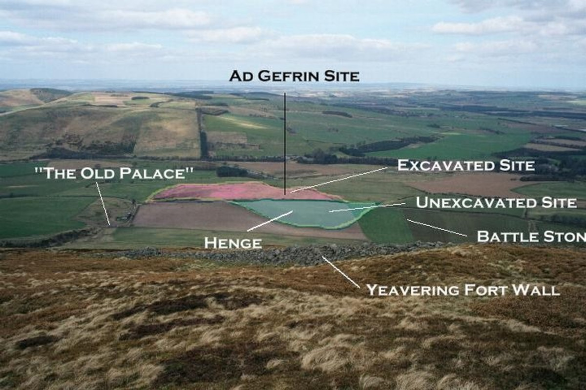 The location of Yeavering and earlier hill fort of Ad Gefrin in Northumbria