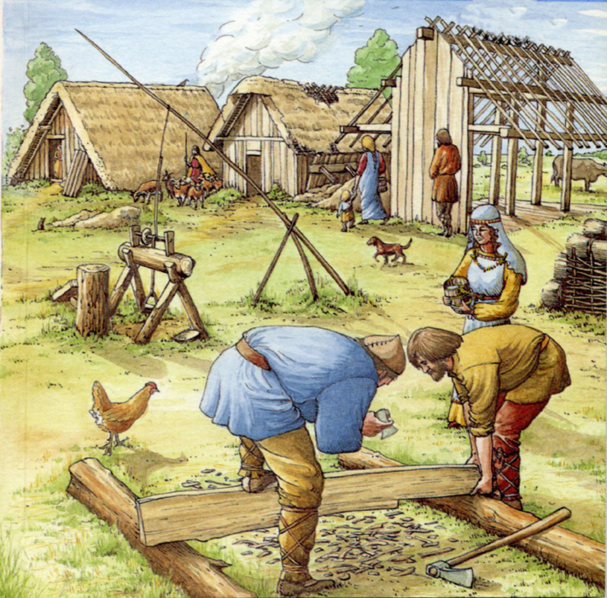 Building an early Anglian settlement - settlers from Angeln came into a largely waterlogged and marshy east, much as where they'd come from and wished for better