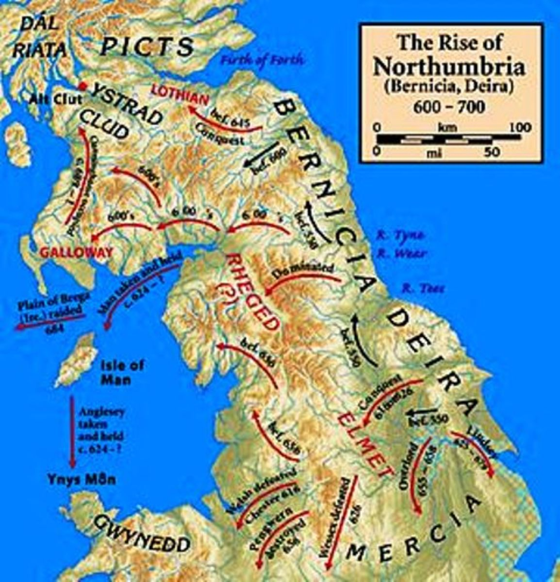 The early campaigns of the Northumbrian kings in and beyond the extended kingdoms. More than once a strong king of Northumbria would be 'Bretwalda' or over-king, acknowledged by Briton, Gael, Saxon and other Aengle (Anglian) kings