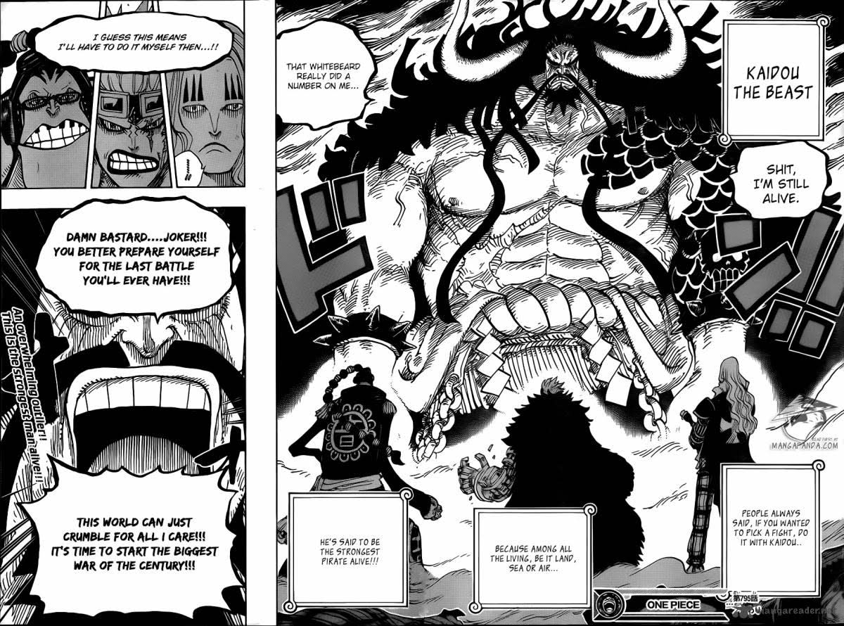 Kaido stands in front of the members of the Worst Generation.