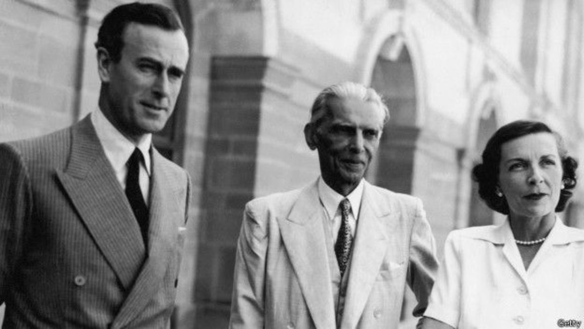 jinnah with lord mountbatten and his wife in india