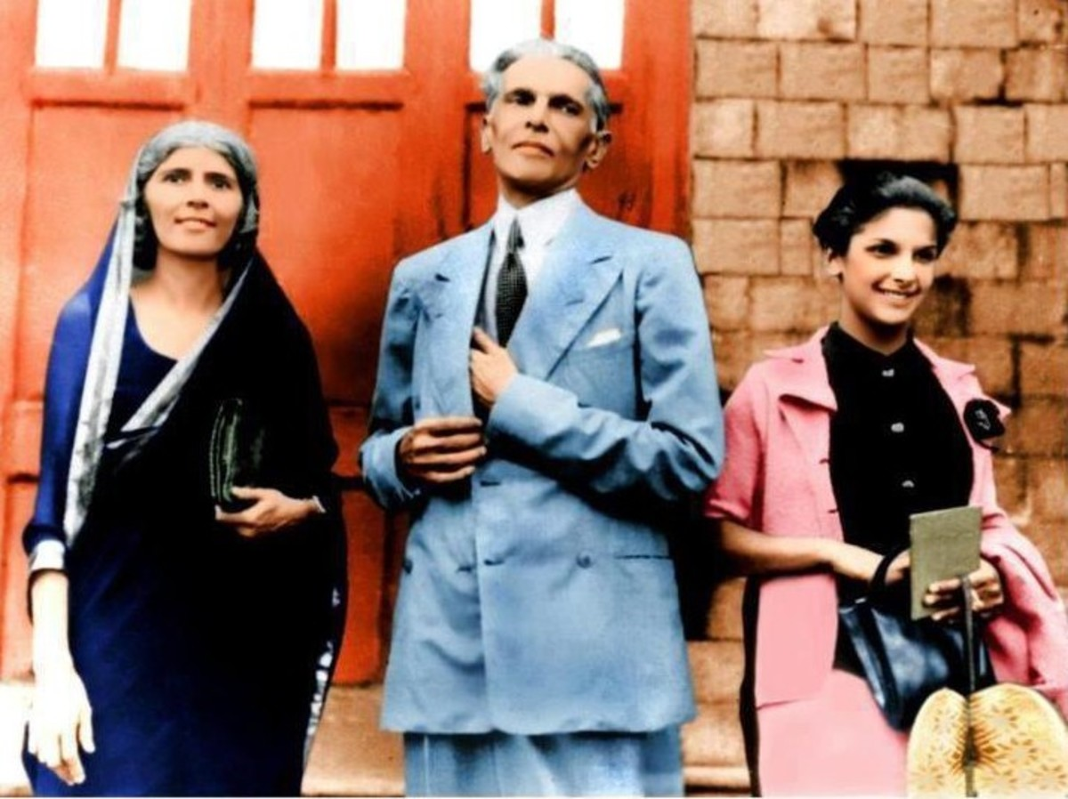 Jinnah with sister and daughter