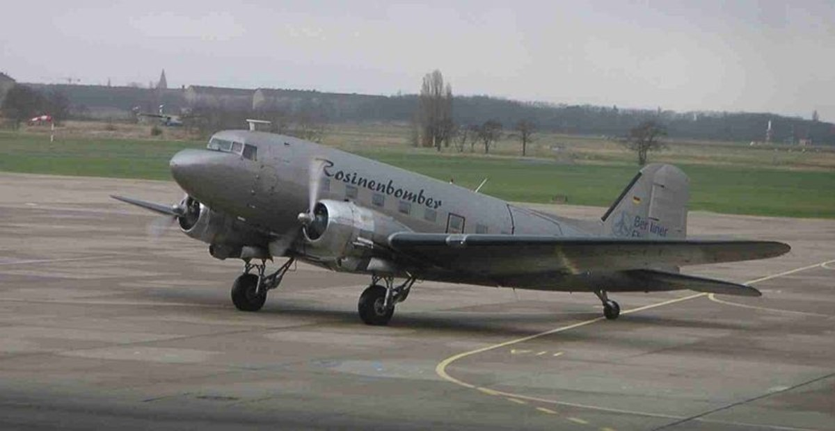"""DC-3 at Berlin's Tempelhof Airport named """"Rosinenbomber"""" (Raisin Bomber) commemorating the planes that dropped candy over Berlin during the airlift"""