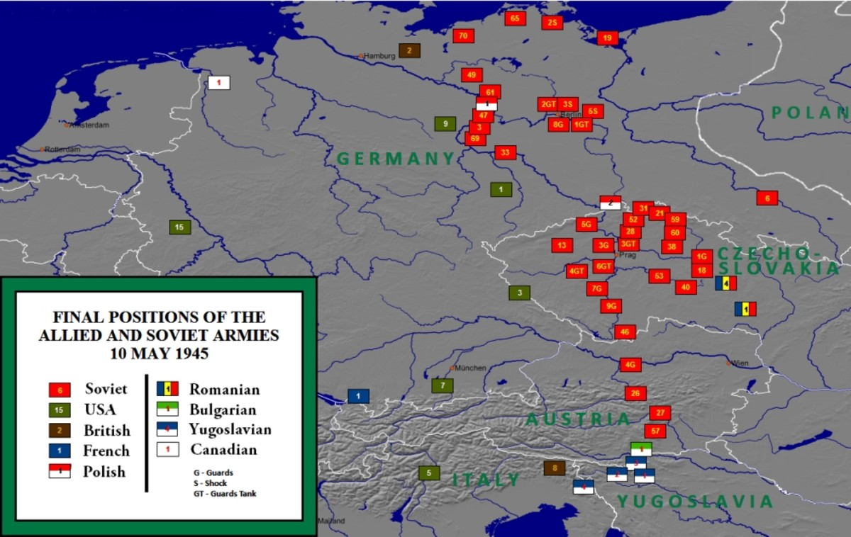 Allied army positions at the end of the war in 1945