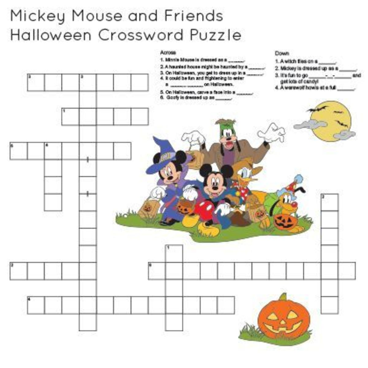 Mickey Mouse and Friends Halloween Crossword Puzzle Game