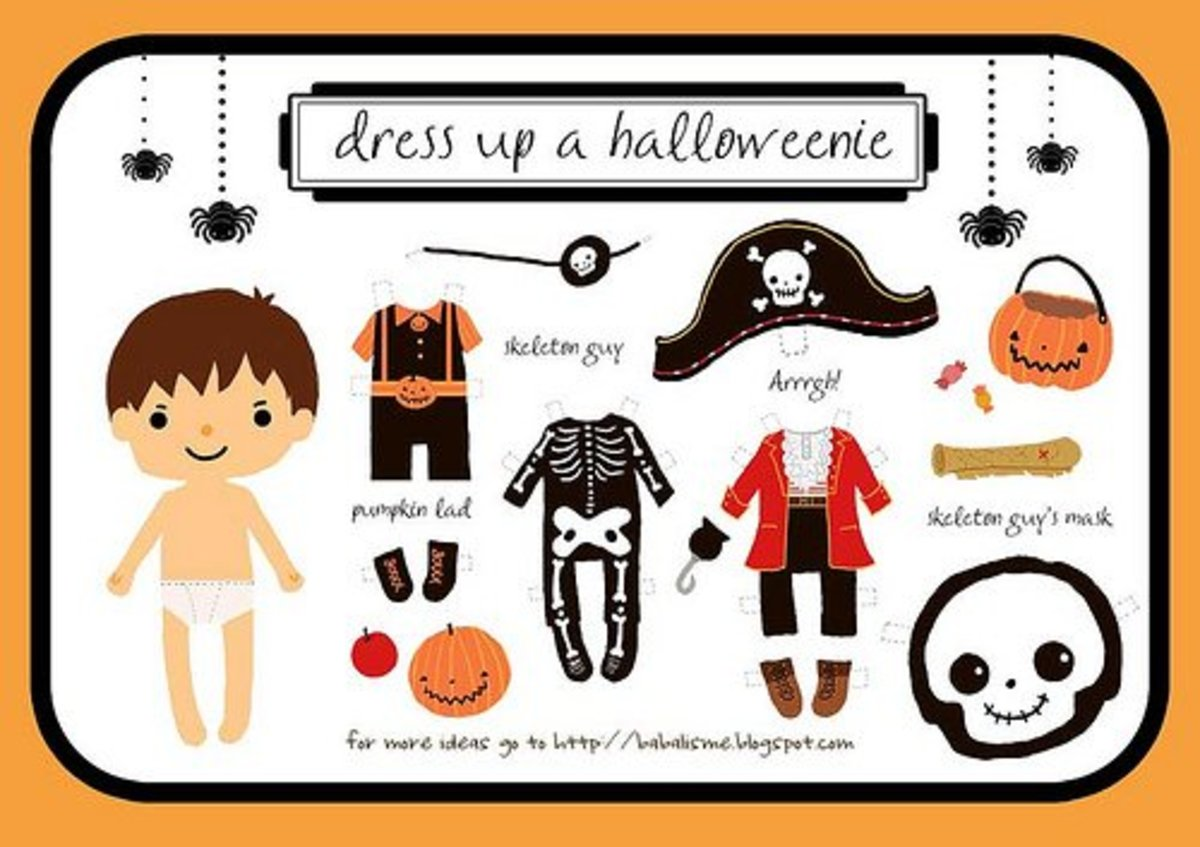Printable Halloween Paper Dolls With Costumes