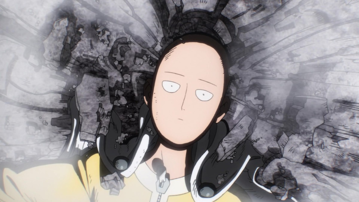 Saitama on the Moon being indifferent about the battle.