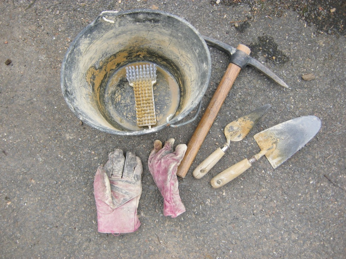 Some of the tools you need to repoint a stone wall