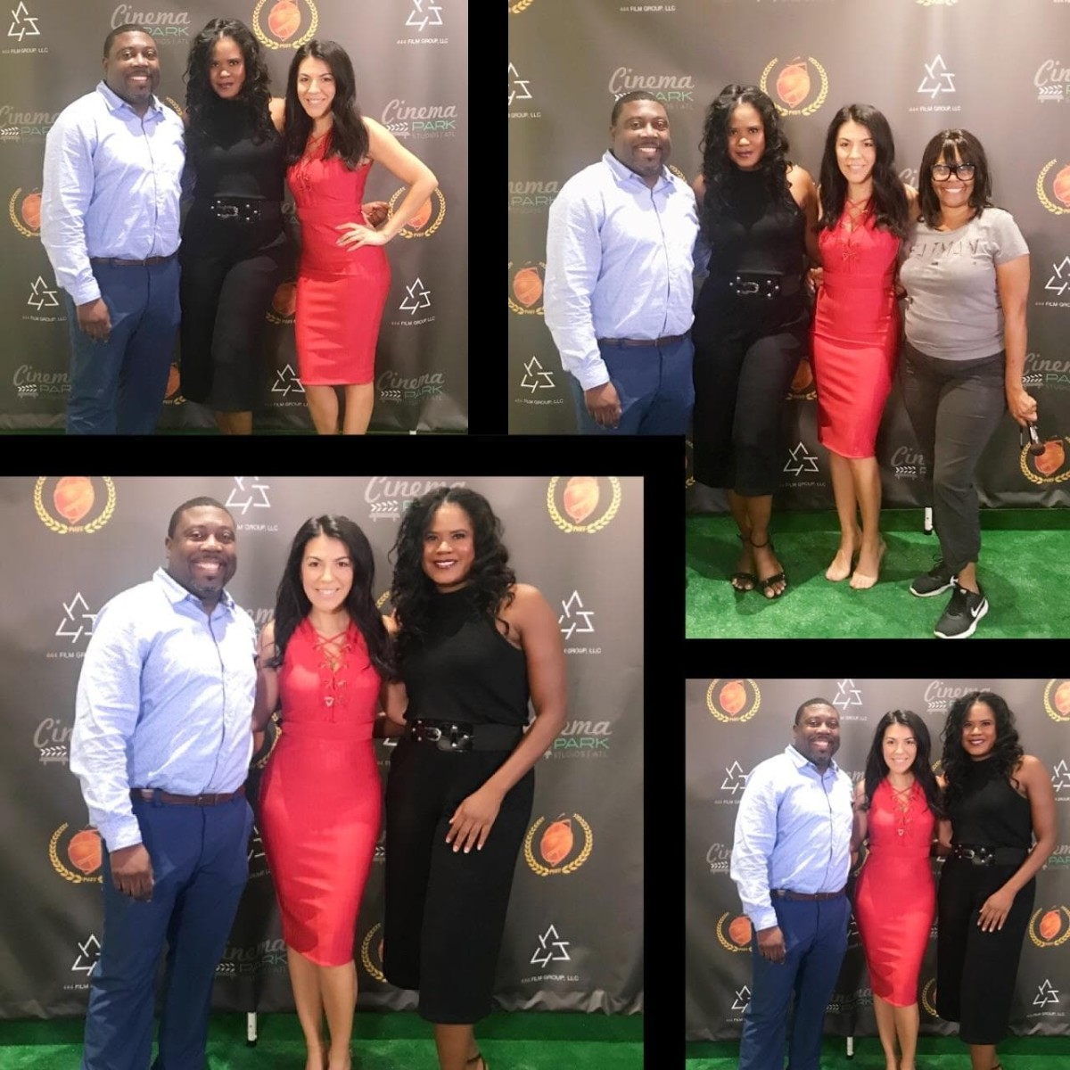 Tangi with admionistrators of the Peachtree Village Int'l. Film Festival for the screening of her 'DJ Saved My Life' (2018).