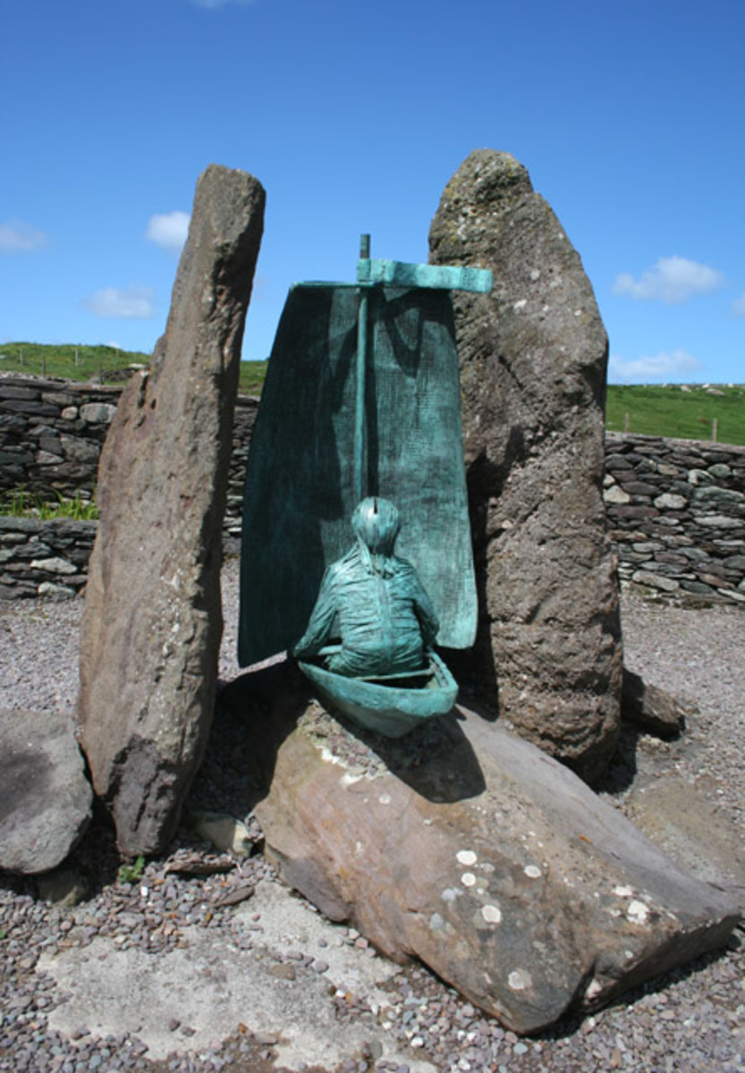 Sculpture of St Brendan at Brandon's Creek, Co. Kerry, Ireland.