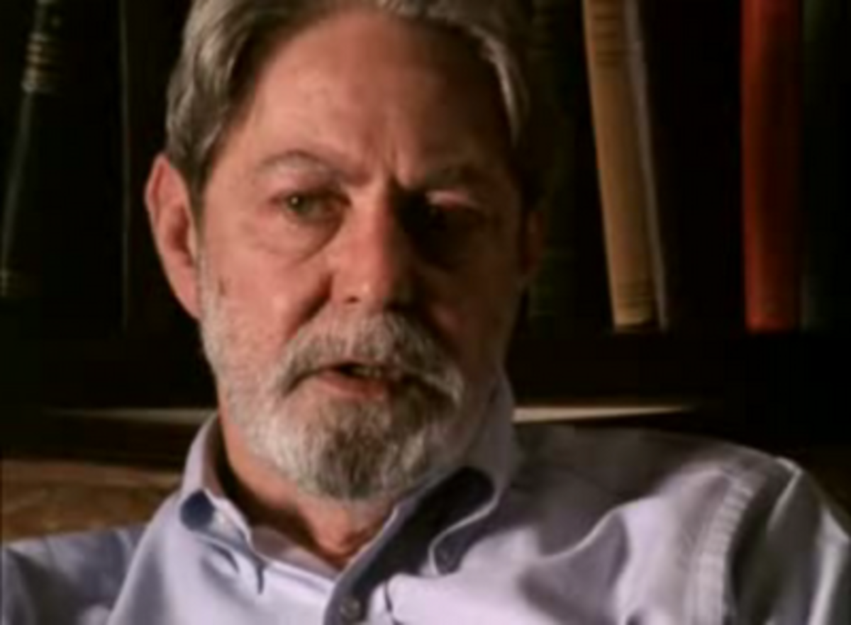 A fairly representative image of Shelby Foote being interviewed in his Memphis, Tennessee study for the Ken Burns Civil War documentary.