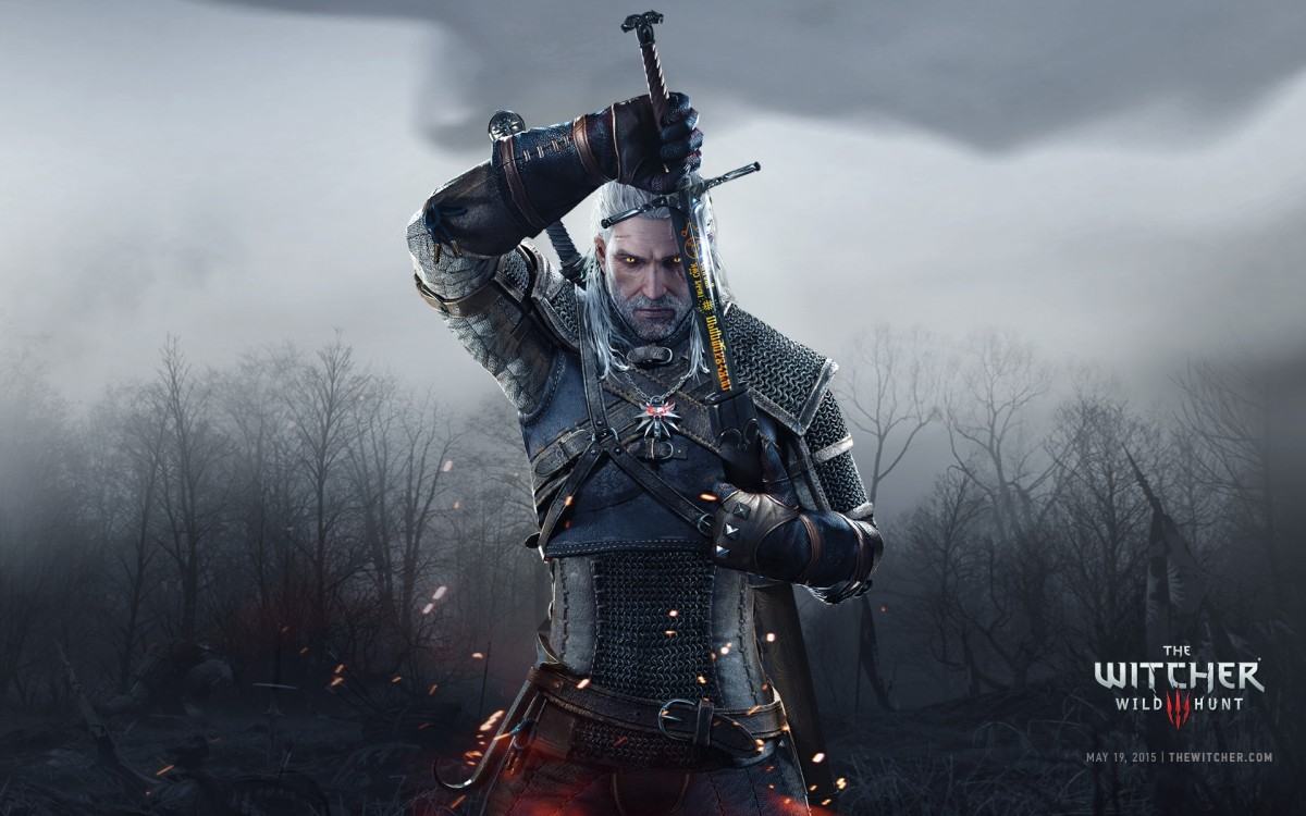 Geralt as he appears in promotional material for The Witcher 3: Wild Hunt.