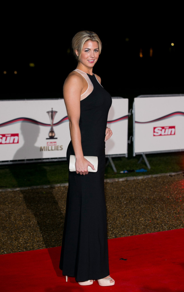 Gemma Atkinson poses at the Sun Military Awards in London England.