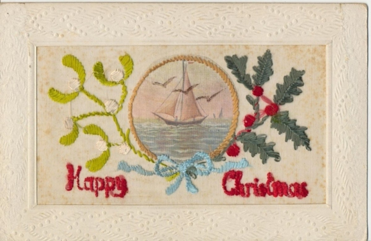 During 1914-1917, embroidered Christmas Cards made by women in France and Belgium were sold to soldiers serving in foreign lands fighting the World War I