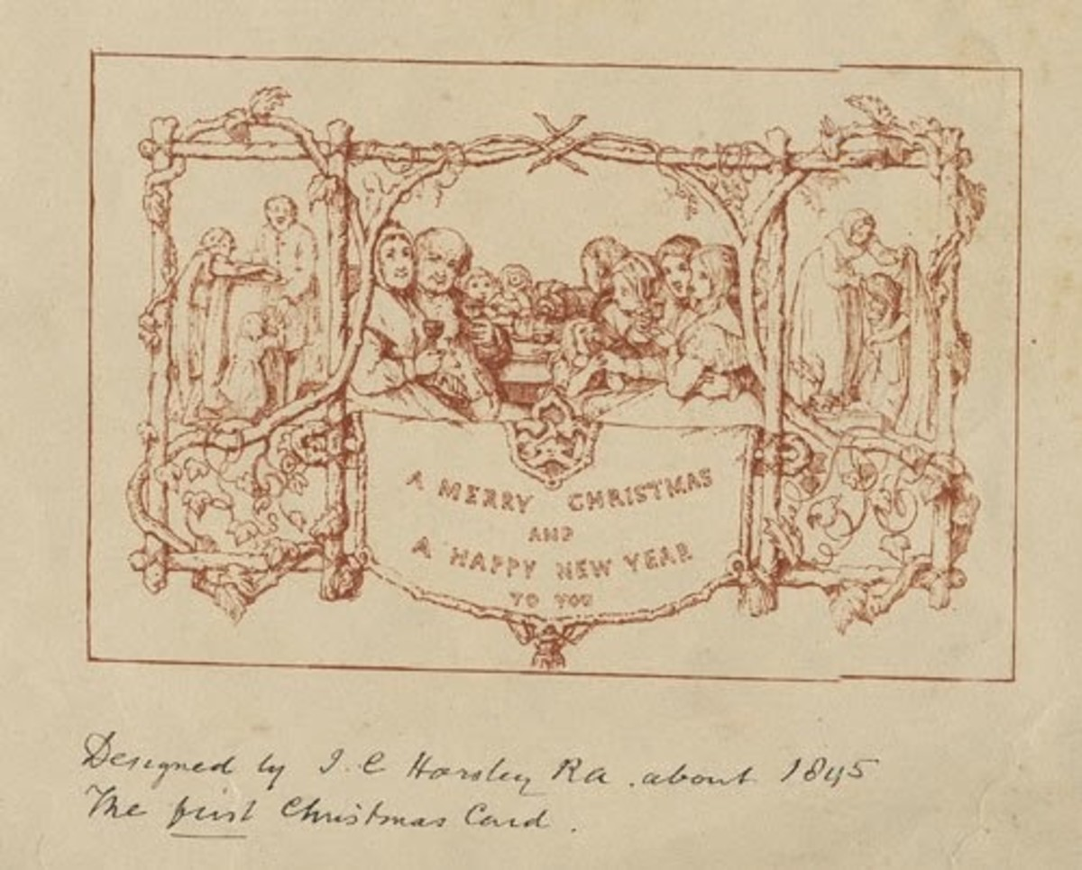 John Calcott Horsley designed the first Christmas Card, upon the request of his dynamic friend and personality - Sir Henry Cole.