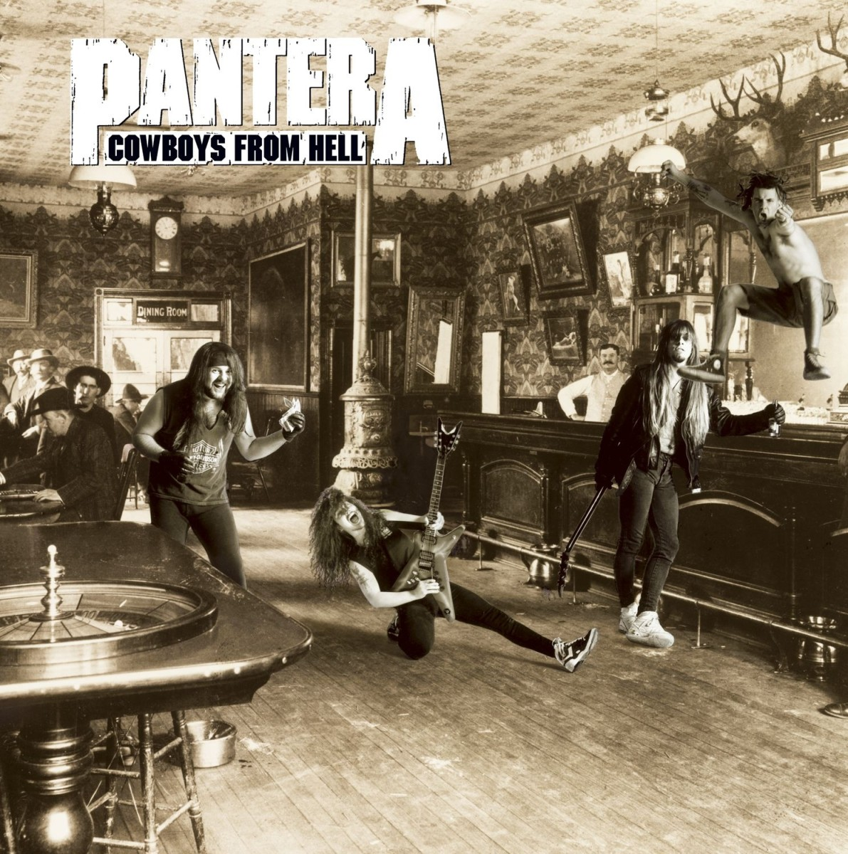 The cover shows the band members of Pantera having fun at a bar or saloon. Vocalist Phil Anselmo is shown at the top right of the photo as he is in the air celebrating.