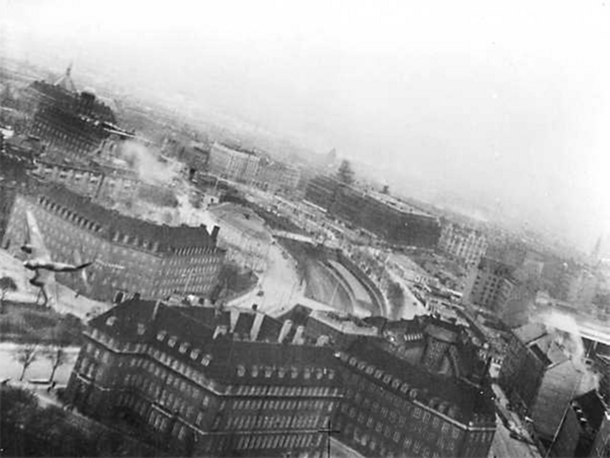 A Mosquito bombing the Gestapo headquarters in the Shellhus, Copenhagen, Denmark in March 1945.