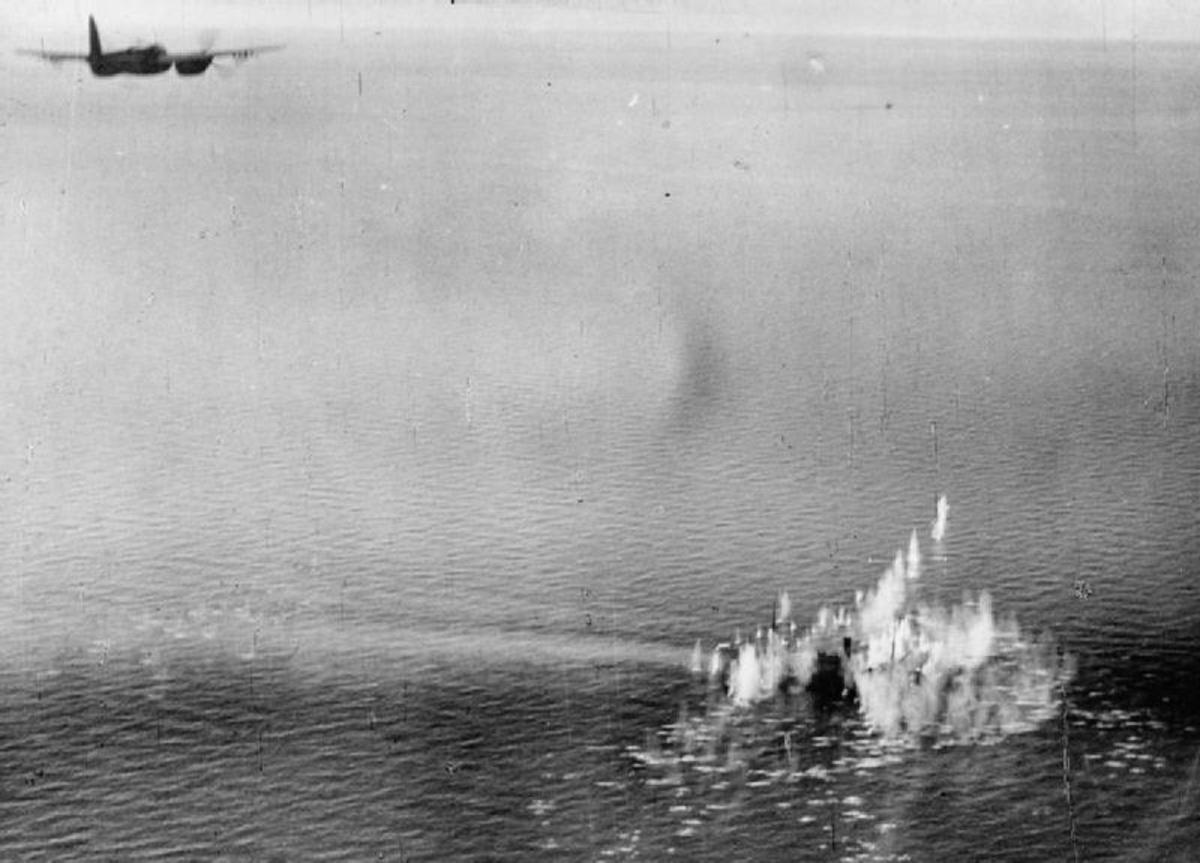 A Mosquito attacking a German convoy April 5, 1945.