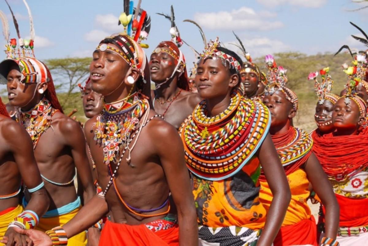 Maasai people dancing