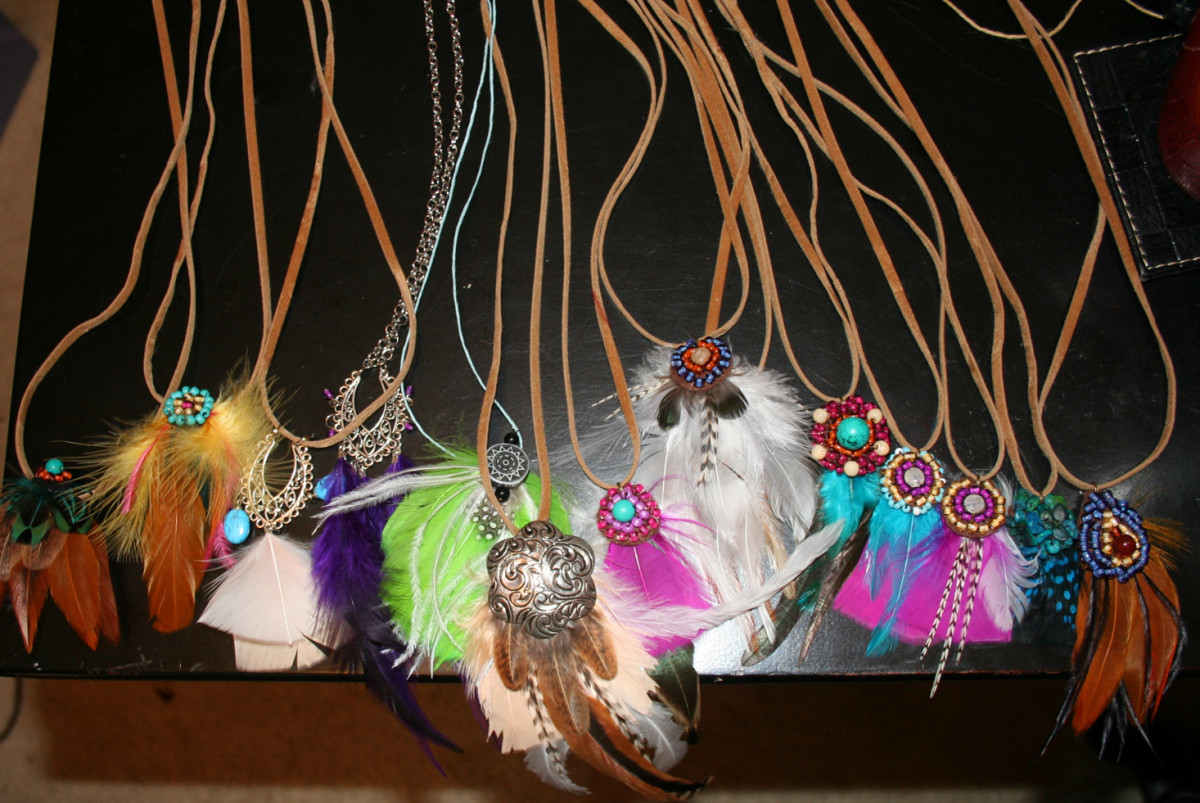 Feather Accessories - Bohemian Hippy Necklaces and Hair Feather Extension Clips