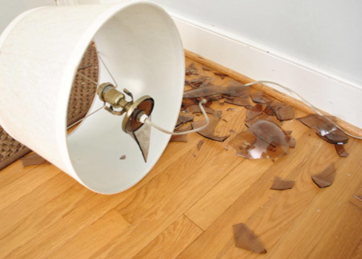 A broken lamp on the floor