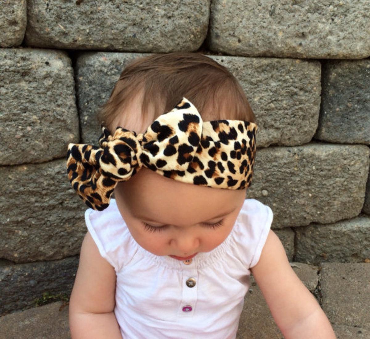 Baby leopard print head wrap