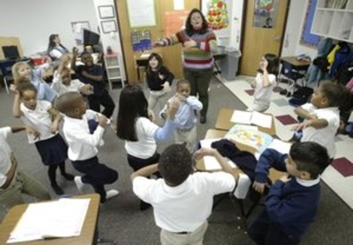 By all accounts this appears to be Brain Gym being conducted in the classroom. The article it came from was about the subject; however, the photo is not fully confirmed.