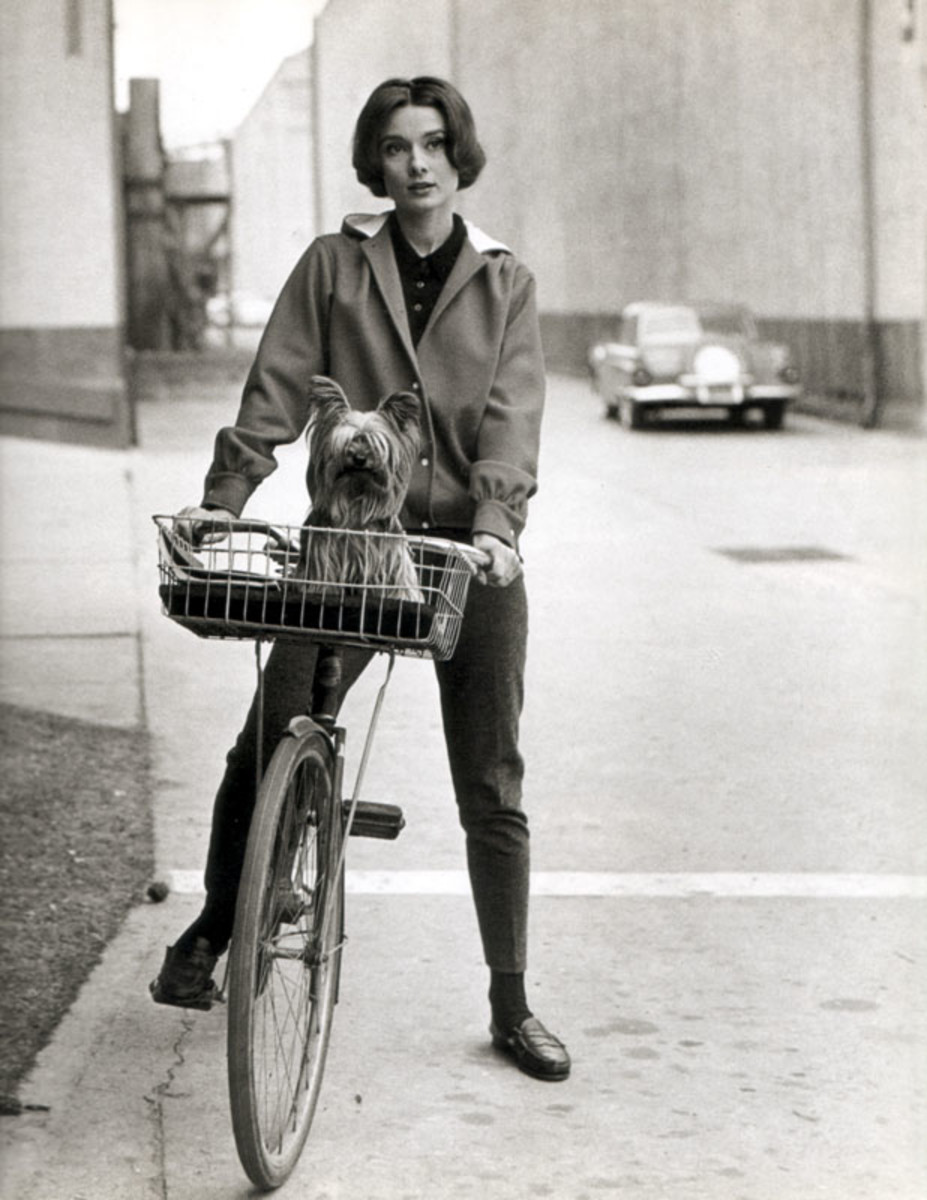 Audrey Hepburn riding a bicycle