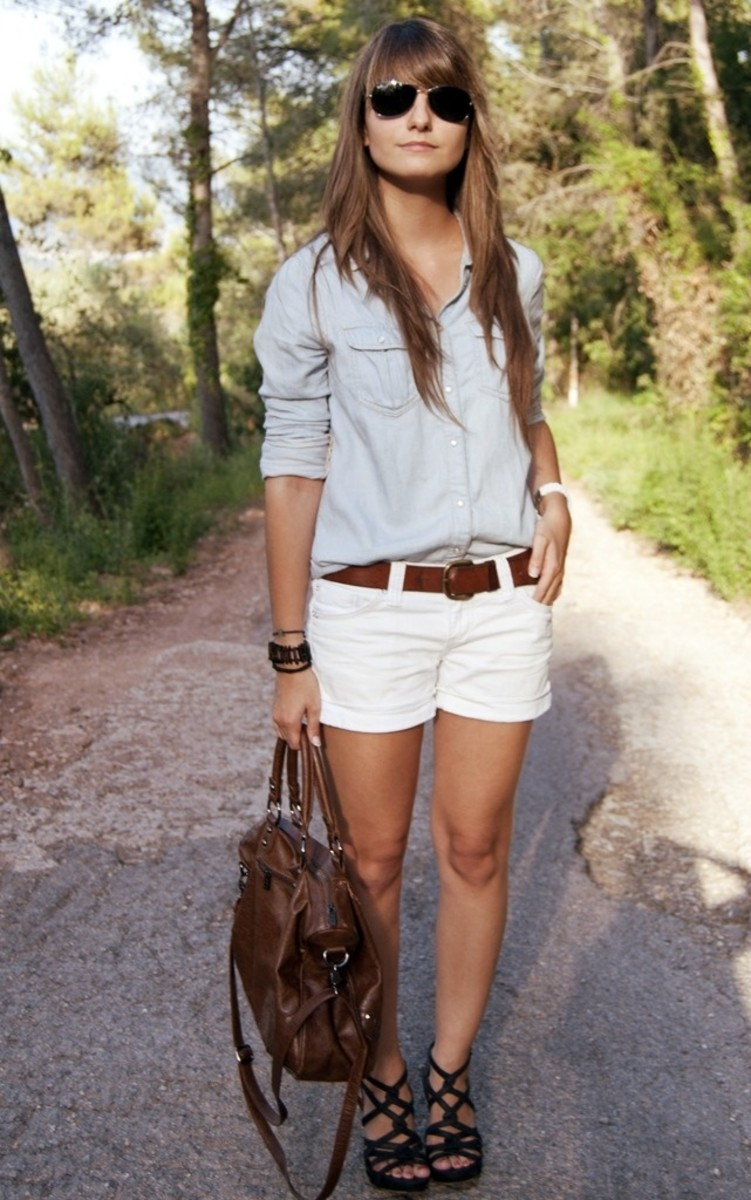 Button down shirt and white shorts