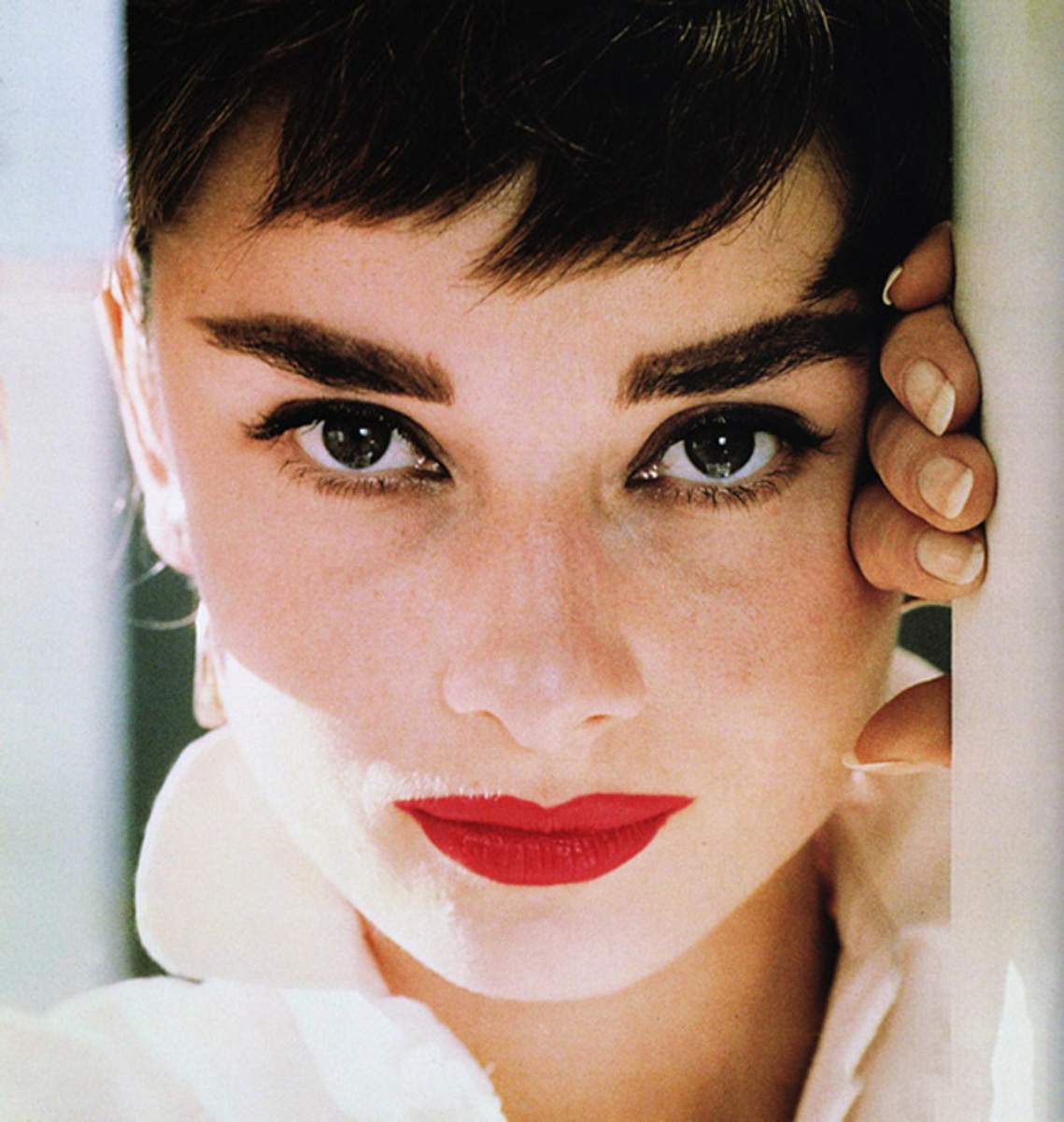 A closeup of Audrey Hepburn