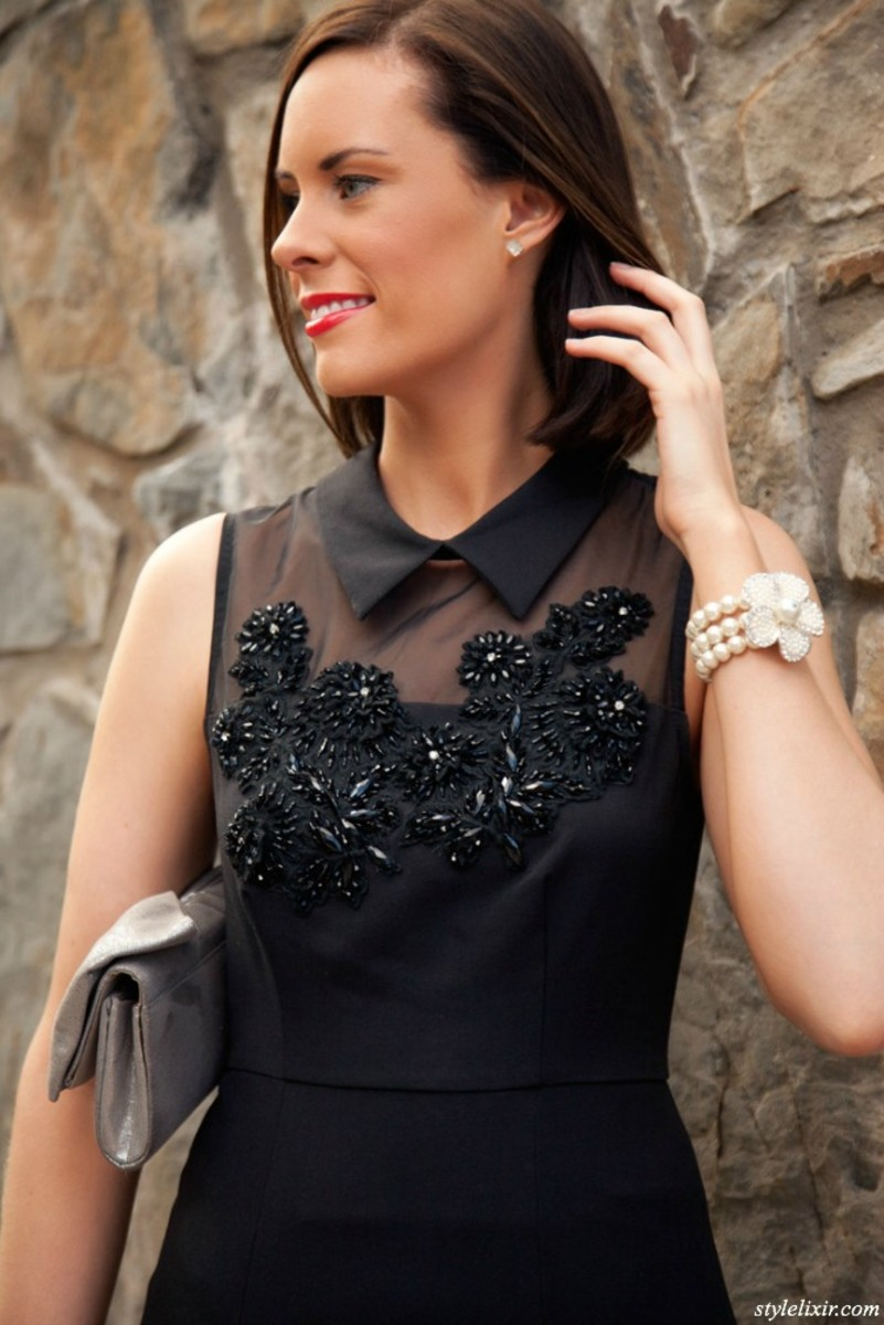 Modern black dress with a vintage feel
