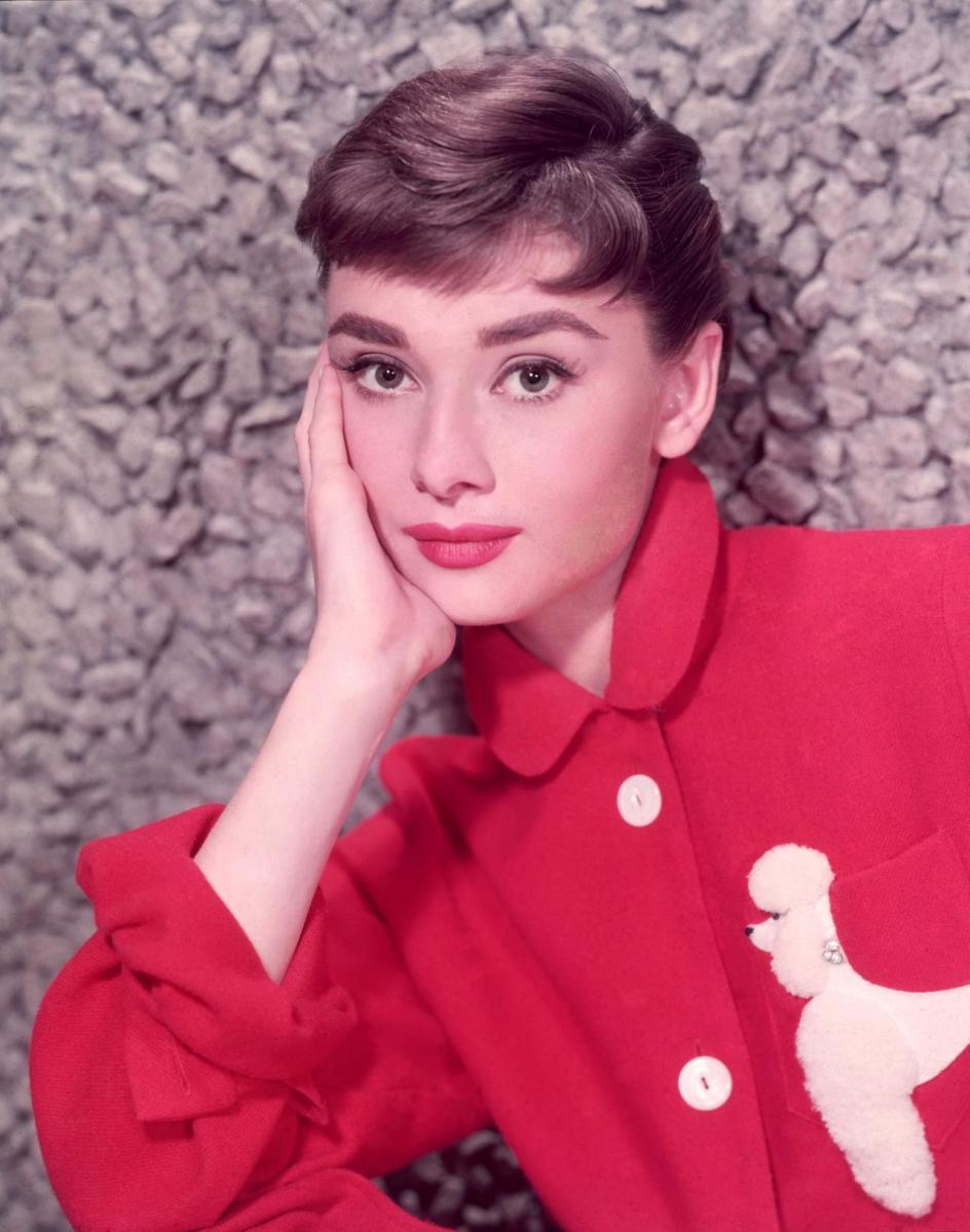 Audrey in a red poodle dress