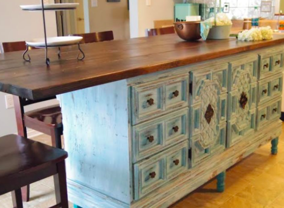 Make Your Own Kitchen Island From Up Cycled Furniture And