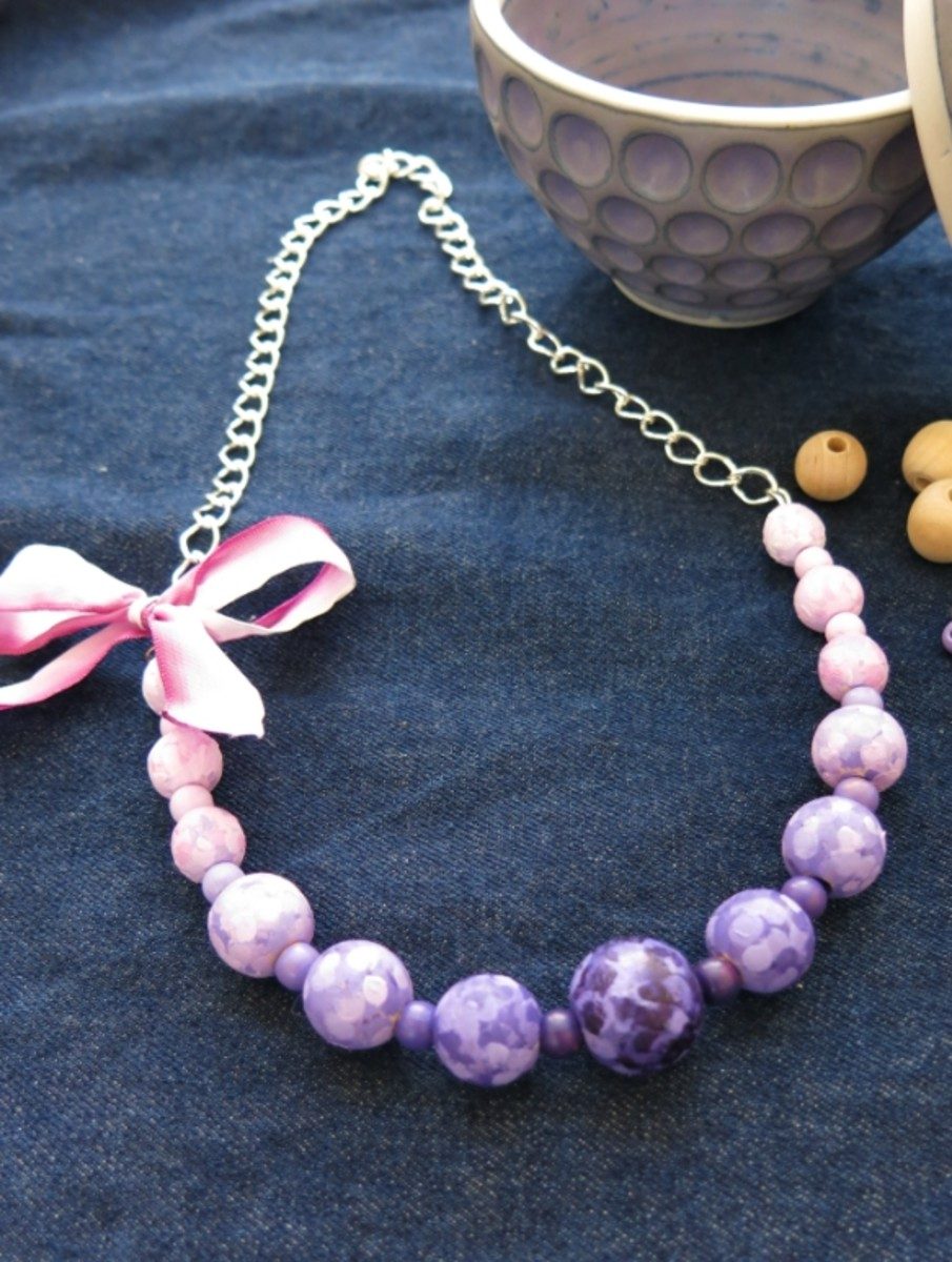 Statement Necklace Made from Hand Painted Beads