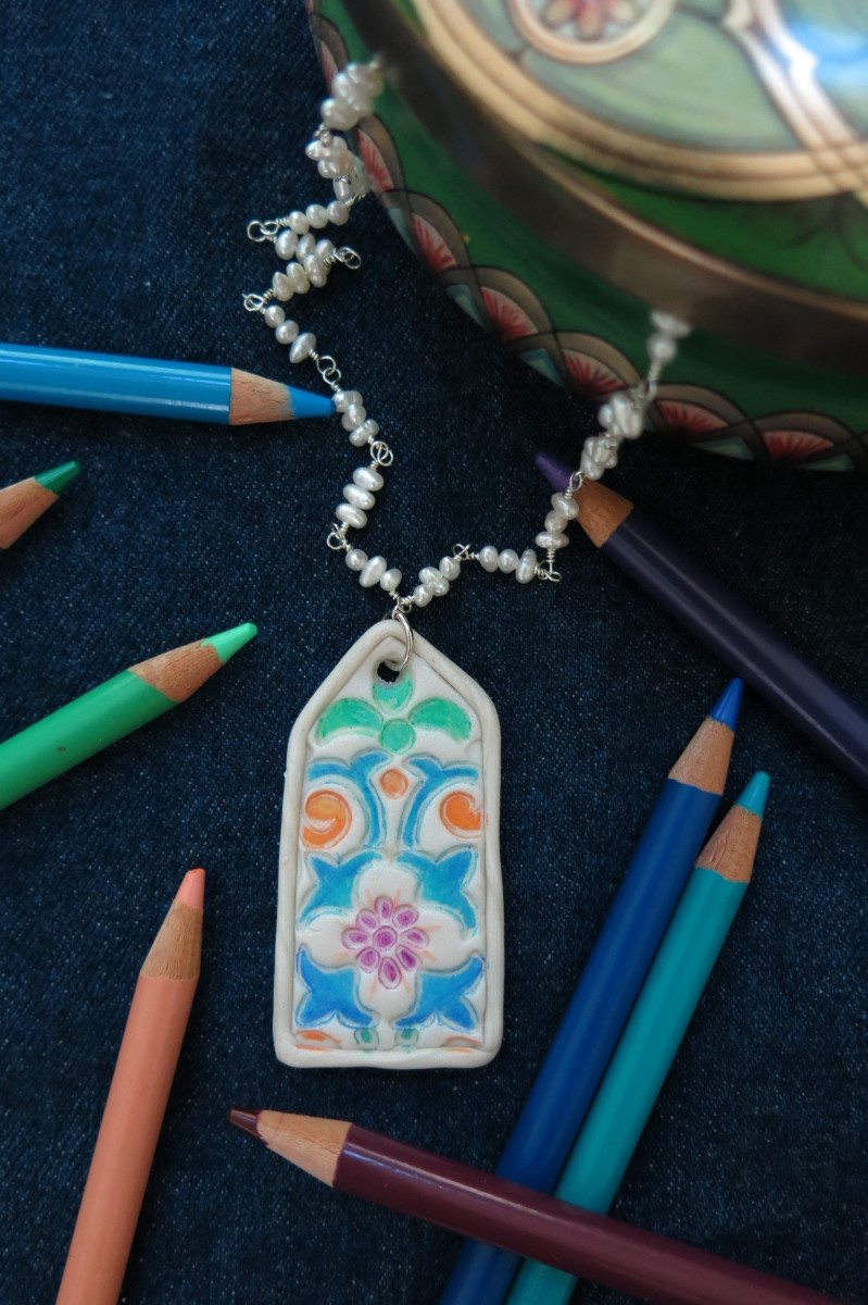 Stained glass inspired polymer clay pendant