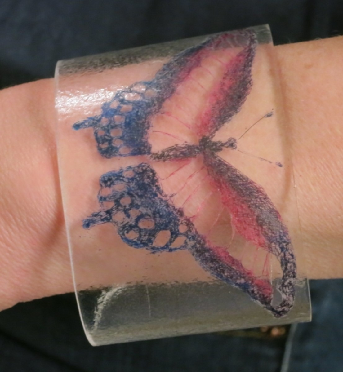 Plexiglass Cuff Bracelet with Etched Design