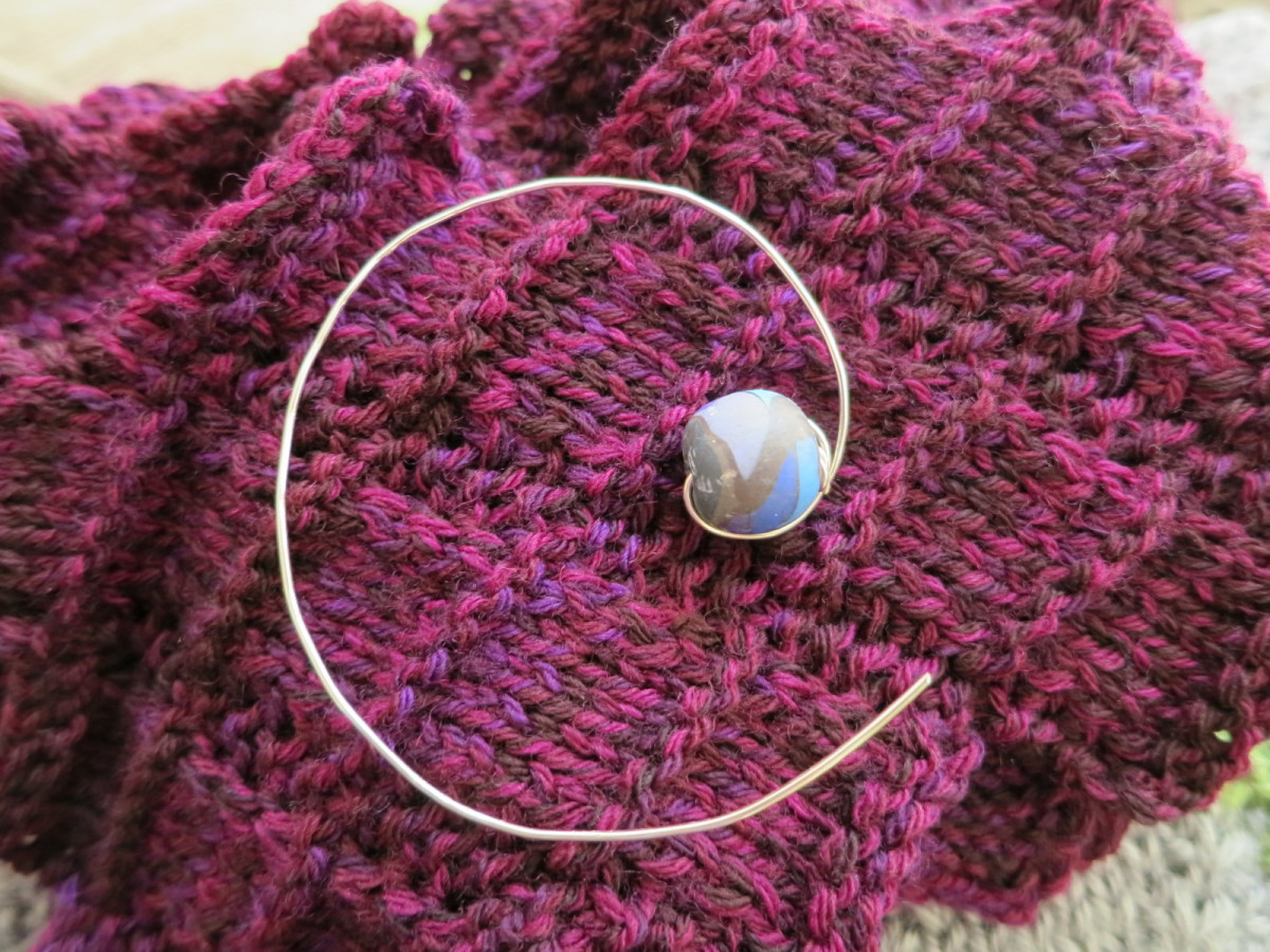 Simple Wire and Bead Shawl Pin or Clasp