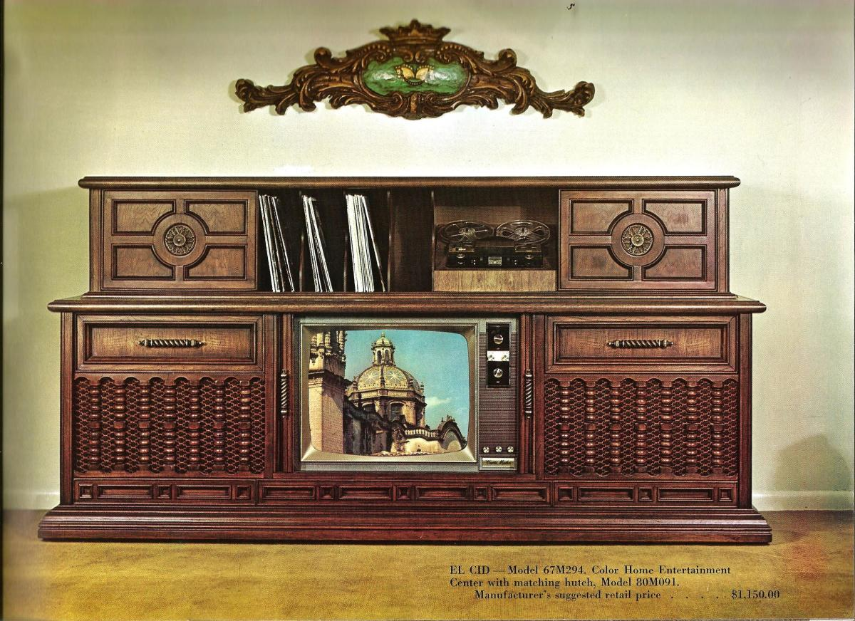 The El Cid model 67M294, Color Home Entertainment Center with matching hutch, model 80M091. Manufacturer's suggested retail price $1,150.00 ....